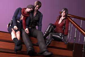 Картинки Resident Evil Мужчина Лестница Ноги Сидя Игры 3D_Графика Девушки