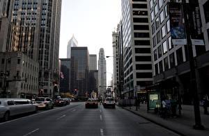 Фотографии Дороги Здания США Небоскребы Улица Чикаго город Города