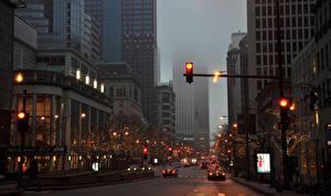 Картинка Дороги Здания США Улица Чикаго город Уличные фонари Города