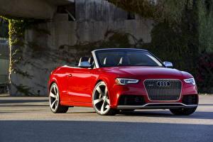 Обои Audi Красный Спереди Кабриолет 2013 RS5 cabriolet Автомобили