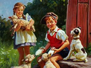 Обои Рисованные Картина Мальчики Девочки Сидя ребёнок