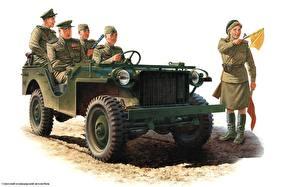 Картинка Рисованные Солдаты Армия Автомобили