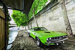 Фотографии Плимут Винтаж Салатовый Barracuda 1971 Автомобили
