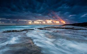 Картинки Берег Небо Море США Океан Облачно Горизонт Гавайские острова Природа