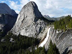 Обои Парки США Горы Пейзаж Водопады Йеллоустон Калифорния Скала Природа фото