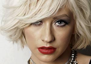 Фотография Кристина Агилера Лицо Блондинка Смотрит Волосы Красные губы Девушки Знаменитости