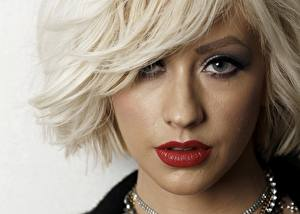 Фото Christina Aguilera Лицо Блондинка Взгляд Волосы Красные губы Девушки Знаменитости