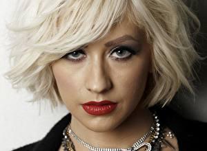 Фотографии Christina Aguilera Лицо Блондинка Смотрит Волосы Красные губы Девушки Знаменитости