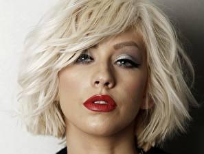 Картинка Christina Aguilera Лицо Блондинка Смотрит Волосы Красные губы Девушки Знаменитости