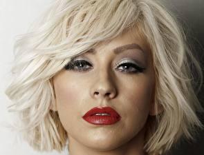 Фото Christina Aguilera Лицо Блондинка Смотрит Волосы Красные губы Девушки Знаменитости