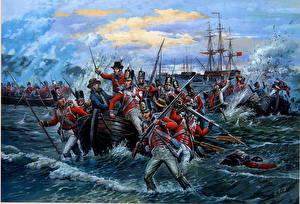 Обои Рисованные Солдаты Берег Лодки Война Десантники