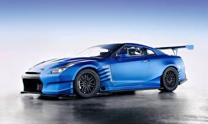 Обои Ниссан Сбоку Голубой gt-r r35 авто