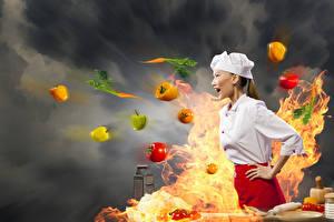 Картинка Овощи Перец овощной Огонь Азиаты Оригинальные Повар молодые женщины Еда