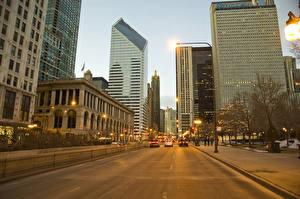 Обои Дороги Здания Небоскребы США Улица Чикаго город Illinois Города