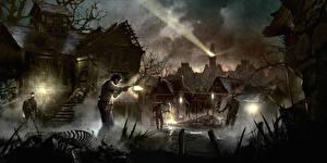 Картинка Alan Wake Мужчины Дома Призрак Ночь Поселок Игры Фэнтези