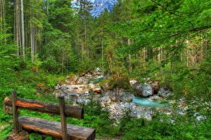 Фотографии Пейзаж Германия Леса Речка Бавария Скамья Ramsau Природа