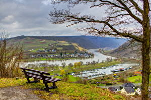 Картинки Германия Скамья Деревья Водный канал Senheim Города