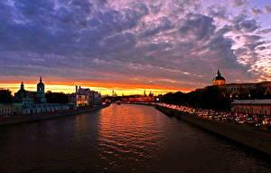 Фото Москва Россия Небо Рассветы и закаты Река Облачно Водный канал город