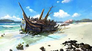 Фото Катастрофы Корабли Парусные Пляжа Облачно Природа