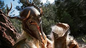 Фотографии The Elder Scrolls The Elder Scrolls V: Skyrim Шлема Рога Игры Фэнтези Девушки