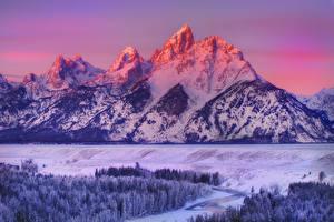 Фотографии Горы Зима Америка Парки Пейзаж Снег grand teton wyoming Природа