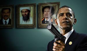 Обои Мужчина Пистолеты Барак Хуссейн Обама Негр Президент Знаменитости Юмор