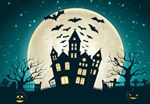 Фотографии Дома Векторная графика Праздники Хеллоуин Летучие мыши Ночь Луна
