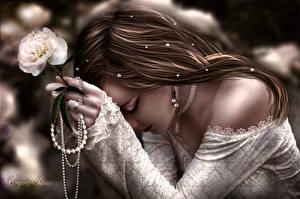 Фотографии Рисованные Шатенка Платье Серег Девушки Цветы