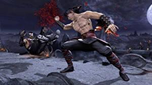 Обои Mortal Kombat Мужчина Крови Сражение Бьет компьютерная игра 3D_Графика