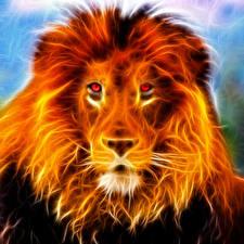 Обои Большие кошки Львы Огонь Смотрят Голова Морды 3D_Графика