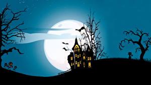 Картинки Векторная графика Дома Праздники Хеллоуин Летучие мыши Луна Ночь