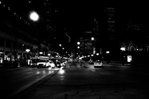 Обои Дороги США Ночь Улица Чикаго город Города