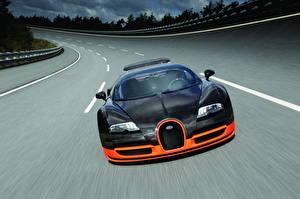 Картинки BUGATTI Дороги Черный Спереди Роскошные 2010 Veyron 16.4 Super Sport Автомобили