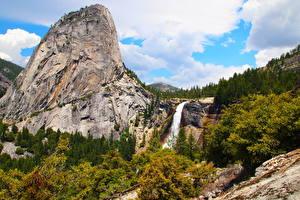 Обои Парки США Водопады Пейзаж Калифорния Йосемити Скала Природа фото