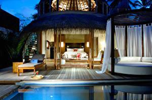 Фотографии Дома Курорты Мальдивы Бунгало Постель Спальни Бассейны