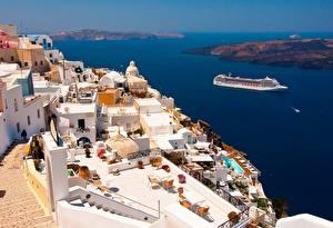 Обои Дома Греция Море Круизный лайнер Тира Сверху Oia город