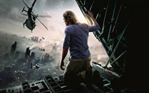 Фотография Мужчина Вертолет Brad Pitt Война миров Z Фильмы Знаменитости