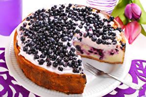 Картинки Сладости Торты Смородина Пирог Вилки Еда