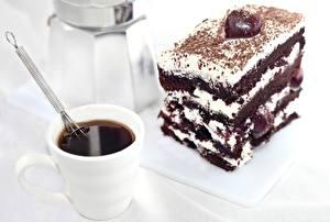 Картинка Сладкая еда Торты Кофе Шоколад Чашке Пища
