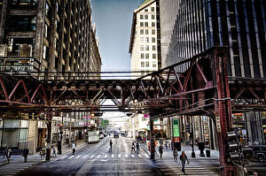 Фото США Дороги Дома Люди Чикаго город Улица Города
