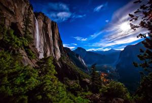 Обои США Парки Водопады Пейзаж Скала Йосемити Природа фото