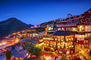 Фотография Дома Китай Тайвань Тайбэй Ночь New Taipei Jioufen