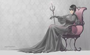 Картинки Готика Фэнтези Кресло С посохом Платья Фантастика Девушки