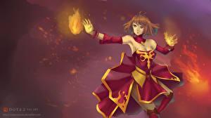 Картинка DOTA 2 Воин Волшебство Lina Юбке Платье Игры Девушки Фэнтези