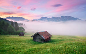 Обои Дома Германия Горы Тумана Траве Бавария Альп Michael Breitung Природа