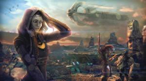 Картинка Mass Effect Корабли Tali Zorah Инопланетяне Капюшон vas Normandy Девушки Космос