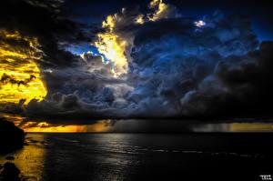Картинка Небо Дождь Море Облака Туч Природа