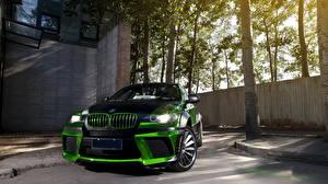 Фото BMW Стайлинг Зеленые Спереди x6 Автомобили