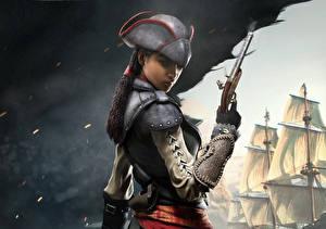Картинка Assassin's Creed Assassin's Creed 4 Black Flag Пистолеты Пираты Воители Шляпа Косички Игры Девушки 3D_Графика