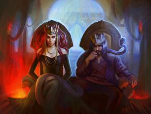 Картинка Готические Мужчины Трона Сидящие Двое Фэнтези Девушки